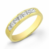 Yellow Gold Wedding Band w Diamonds