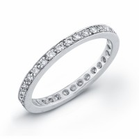 Platinum eternity ring band with 33 round diamonds pave