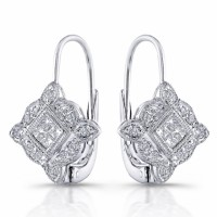 18 karat gold and diamond earrings, princess cut with french clip