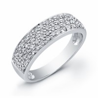 Buy 18 karat white gold band with 1/3 carats of 52 round diamons