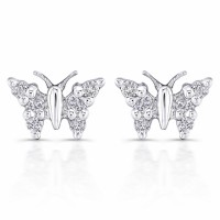 Unique butterfly diamond earrings in 18 karate white gold by in LA