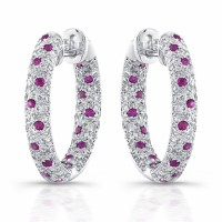 round ruby and diamond earrings in 18 karat gold