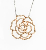 Diamond rose flower pendant in gold