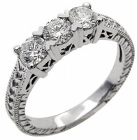 3 round cut diamond ring in 14 kt white gold
