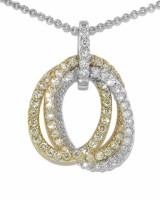 18 Kt 3 Color Gold Diamond Necklace