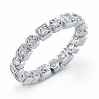 18 karat white gold, diamond eternity band, ring