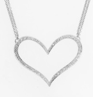 Heart shaped diamond necklace in 14 karat white gold