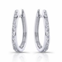 Oval Hoop Diamond earrings with 30 round diamonds in 18 karat gold