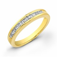 beautiful yellow gold baquette diamond band ladies