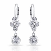 Diamond drop dangel earrings,14 karat white gold dangling earrings with 10 round diamonds 0.75 ct.,