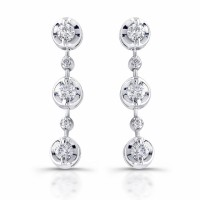 Gold dangle diamond earrings in 18 karat white gold