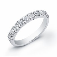 ladies 14 karat white gold diamond band