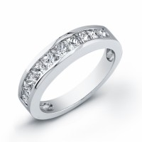 ladies white gold and diamond wedding band