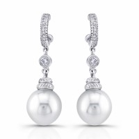 Peal diamond gold dangle earrings, 14 karat white gold south sea pearls