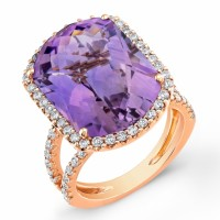 Amethyst Ring w 68 Diamonds