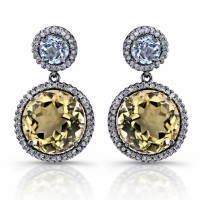 18 carat white gold dangle earrings with yellow quartz and topaz, beautiful