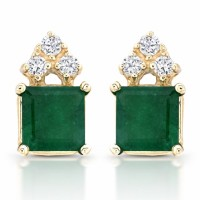 Square beautiful emerald and diamond earrings in 14 karat gold, buy in Los Angeles