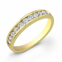 Diamond Wedding Band in 18 karat yellow gold Ladies