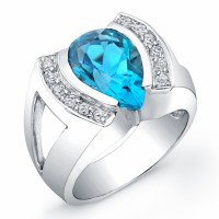 Ladies Blue Topaz Ring in 18 karat white gold