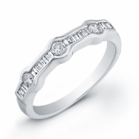 Baguette Diamond Ring in White Gold-Wedding or Engagement Ladies Ring