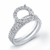 Engagement Ring with Round Diamonds in White Gold-FDR1677