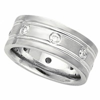 Mens Gold Wedding Ring Band with 8 Diamonds