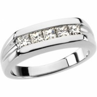 Mens White Gold Wedding Band w Diamonds