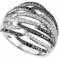 14 kt gold white & black diamond ring, Los Angeles downtown jewelry mart