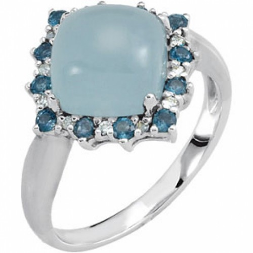 aquamarine ring with diamonds and blue topaz in white gold