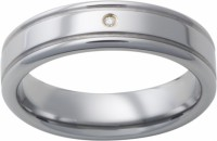 Mens Tungsten Band Ring w 1 Diamond