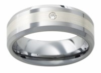 Mens Ring Band Tungsten 1 Diamond