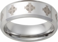 Mens Ring with Laser Engraved Cross