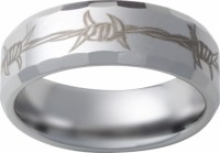 Mens Tungsten Ring Engraved Barbwire