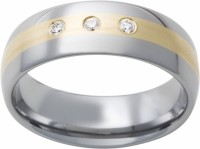 Mens Tungsten Ring Band w 3 Diamonds