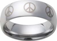 Mens Tungsten Band w Peace Sign