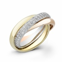 diamond band 3 tricolor gold ring