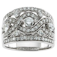 Anniversary diamond ring 14K white gold diamond ring-ladies