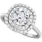 ladies engagement ring double halo with cushion cut diamond cnter