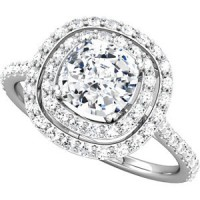 ladies engagement ring double halo with cushion cut diamond center