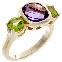 Amethyst and peridot stone ladies ring in yellow gold