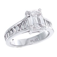 platinum diamond ladies ring with baguette diamonds, center emerald cut diamond