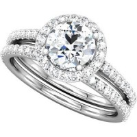 14 kt white gold ladies engagement diamond ring set