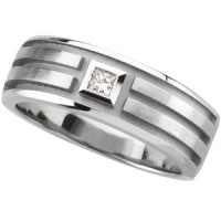 white 14 karate gold mens wedding band  with square princess diamond
