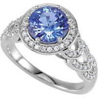 14 karat white gold ladies Sapphire ring with diamonds